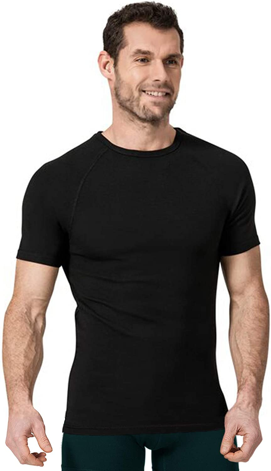suAna Men's Poly-Blend Fleece-Lined Thermal T-Shirt