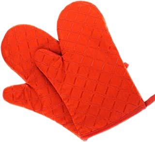 start-imagine 1 Pair Microwave Oven Gloves Insulation Silicone Oven Mitts Non-Slip Kitchen BBQ Cooking Gloves Bakeware Cake Tool,Orange