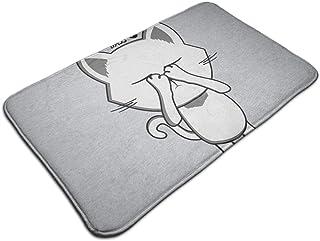 HUTTGIGH - Felpudo antideslizante para puerta de entrada de gato, 19,5 x 31,5 pulgadas, diseño de gato