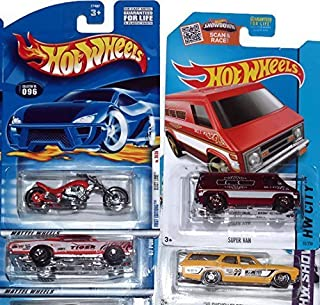 Hot Wheels, Die Cast Car 4 Pack Variety Bundle, 4 Different Cars From 4 Different Years Ranging from 1998-2015. 2 hotwheel cars from older years, and 2 hotwheel cars from newer years