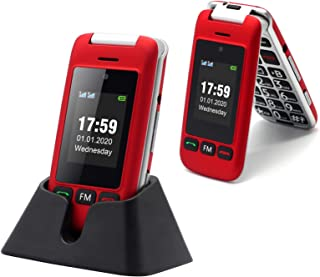 Artfone Flip Teléfono móviles para Personas Mayores con Teclas Grandes con Pantalla de 2.4 Pulgadas, Fácil de Usar para Ancianos, con MMS, SOS Botón, Cámara - Rojo