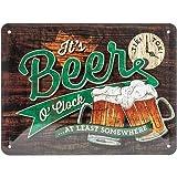Nostalgic-Art Open Bar – Beer O' Clock Glasses – Geschenk-Idee für Bier-Fans Retro Blechschild,...