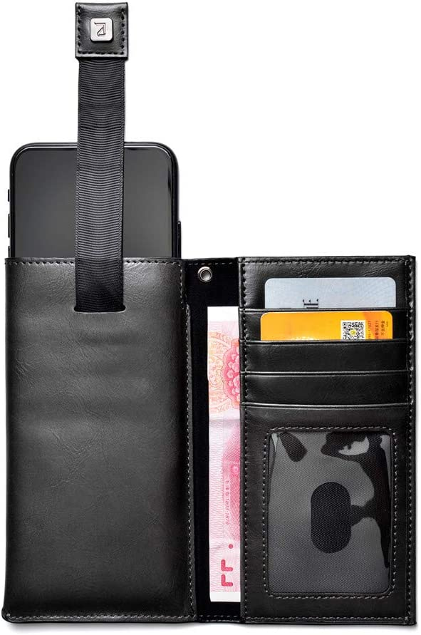 Leather Cellphone Wallet Sleeve Flip Case Cover with Credit Card Slots Holder Pocket Pouch for LG Stylo 5/4(Naked), Moto G7 Power(Naked), G7, Z4, G6, OnePlus 6T, BLU G9, Vivo XL4 (Black)