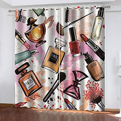 dxycfa Gardinen Blickdicht Parfüm Gedruckt Wärmeisolierte Vorhänge Öse Verdunkelungsvorhänge Für Schlafzimmer 220X 215 cm