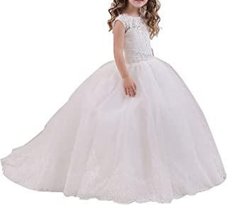 Girl's Lace Applique A Line Pageant Gown Tulle Wedding Flower Girl Dress