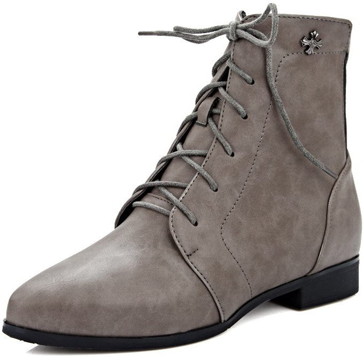 WeenFashion Women's Low-top Zipper Soft Material Low-Heels Pointed Closed Toe Boots