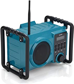 Denver WRB-50 Rechargeable Jobsite/Work Site FM Bluetooth Radio with Integrated Floodlight, Splash Proof & AUX in