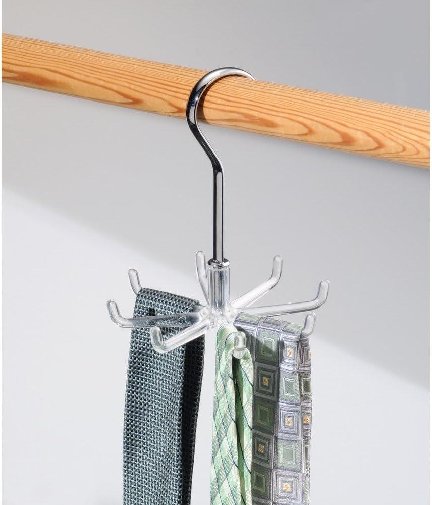 InterDesign Zia Colgador de bolsos para puerta transparente organizador de pl/ástico con tres ganchos para bolsos colgador de chaquetas