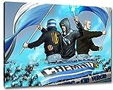 Chemnitz Fans mit Flaggen Format: 100x70, Bild auf Leinwand