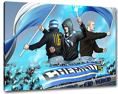 Ultras-Art Chemnitz Fans mit Flaggen Format: 80x60, Bild auf Leinwand XL, fertig gerahmt