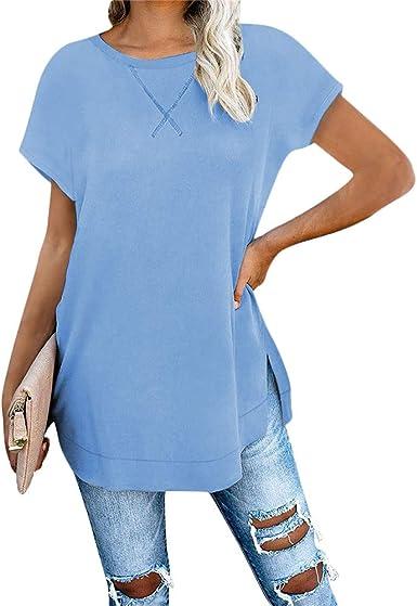 Ropa para mujer de manga corta/larga Camisetas sueltas camisas de cuello redondo moda algodón Tops