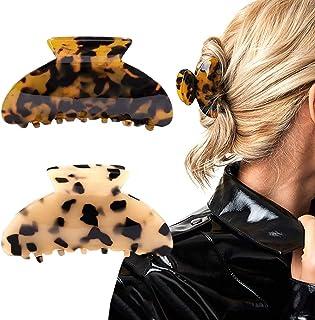 2PCS Hair Claw Banana Clips tortoise Barrettes Celluloid French Design Barrettes celluloid Leopard print Large Fashion Acc...