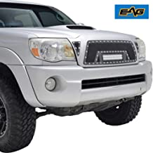 EAG Insert Grille Rivet Black Stainless Steel Wire Mesh with LED Light Fit for 05-11 Toyota Tacoma