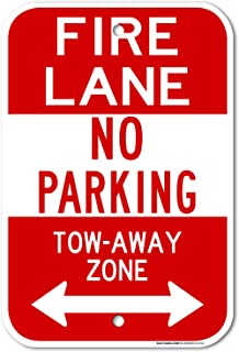 Fire Lane No Parking Tow Away Zone Sign, Large 12x18 Rust Free .63 Aluminum, Weather/Fade Resistant, Easy Mounting, Indoor/Outdoor Use, Made in USA by SIGO SIGNS