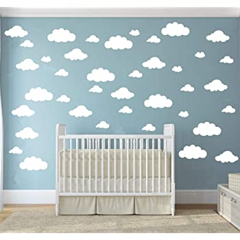 Amazon.com: 31 Pcs Mix Size 4-10 Inch White Clouds Wall Decal Sticker For Kids Bedroom Decor -DIY Home Decor Vinyl Clouds Mural Baby Nursery Room Wallpaper Art Wall Decoration Poster YYU-14 (White):