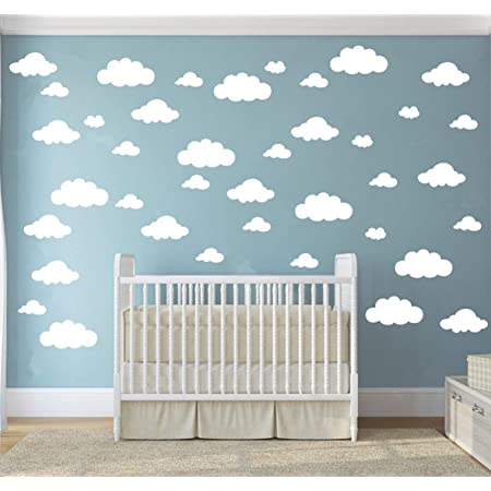 White Clouds Sky Wall Decals Easy Peel Stick 50 Clouds Pack Kids Playroom Nursery Sky For Baby Boy Or Girl Vinyl Sticker Art Large Decoration Graphic Decor