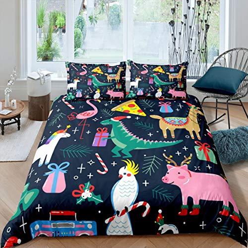 Tbrand Kids Christmas Bedding Set Single Size for Bedroom, Dinosaur Flamingo Comforter Cover for Children Boys Girls, Lovely Alpaca Pig Quilt Cover Cartoon Animal Branches Duvet Cover, Dark Blue