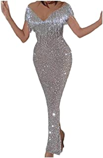 neveraway Women Tassel Sequin Sexy Bodycon Fashion Party Long Maxi Dress