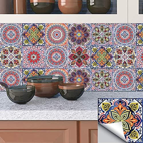 MZBZYU 10pcs Autoadhesivos Azulejos Decorativos DIY Pegatinas Etiquetas De Azulejos De Suelo Sticker De Estilo Retro Creativo Vintage para Baño Cocina