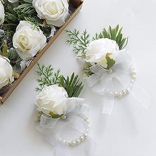 floroom Set of 6 White Rose Wrist Corsage Wristlet Band Bracelet for Women Bride Bridesmaid Wedding Prom