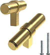 "Alpine Hardware | T-Bars and T-Knobs | Kitchen Cabinet Hardware/Dresser Drawer Handles ([2"" Length] Gold/Brass Banded T-Kn..."