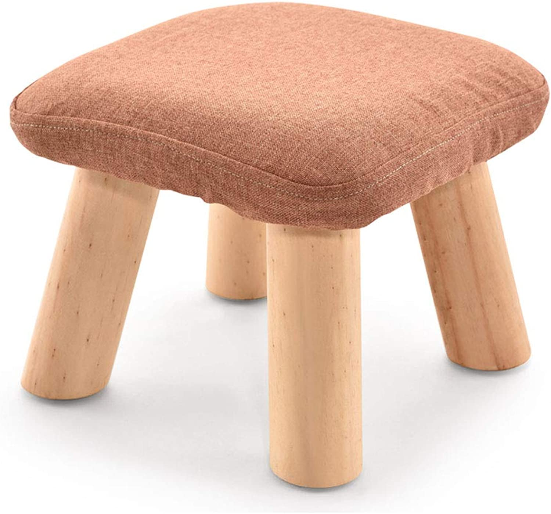 SMC stool Fashion Creative Solid Wood Fabric Sofa Bench Square Stool Mushroom Stool Low Stool shoes shoes Bench (color   orange)