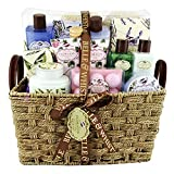 Coffret cadeau Premium pour femme - Panier de bain en osier - Collection Floralia - Lavande/Thé Vert/Rose