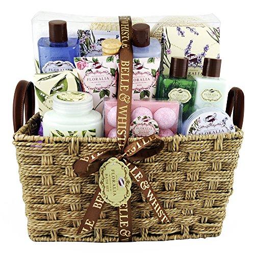 Coffret cadeau Premium pour femme - Panier de bain en osier...