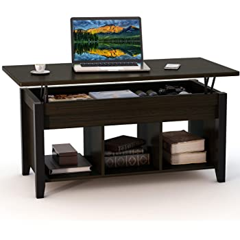 Tribesigns Lift Top Coffee Table with Hidden Storage Compartment and Lower Shelf for Living Room, Solid Wood Legs (Black Walnut)