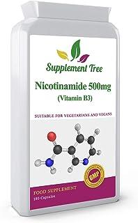 Vitamina B3 Nicotinamida 500mg 180 Cápsulas | Niacinamida Flush Free | Fabricado en el Reino Unido | Apto para veganos y vegetarianos