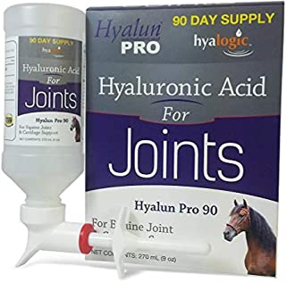 Hyalogic Hyaluronic Acid Horse Joint Supplement–Pure Hyaluronic Acid (HA) Equine Joint Supplement & Cartilage Care– Available as 30 and 90 Day Supplment, Horse Muscle Rub and Gel (Equine Syringe Oral)