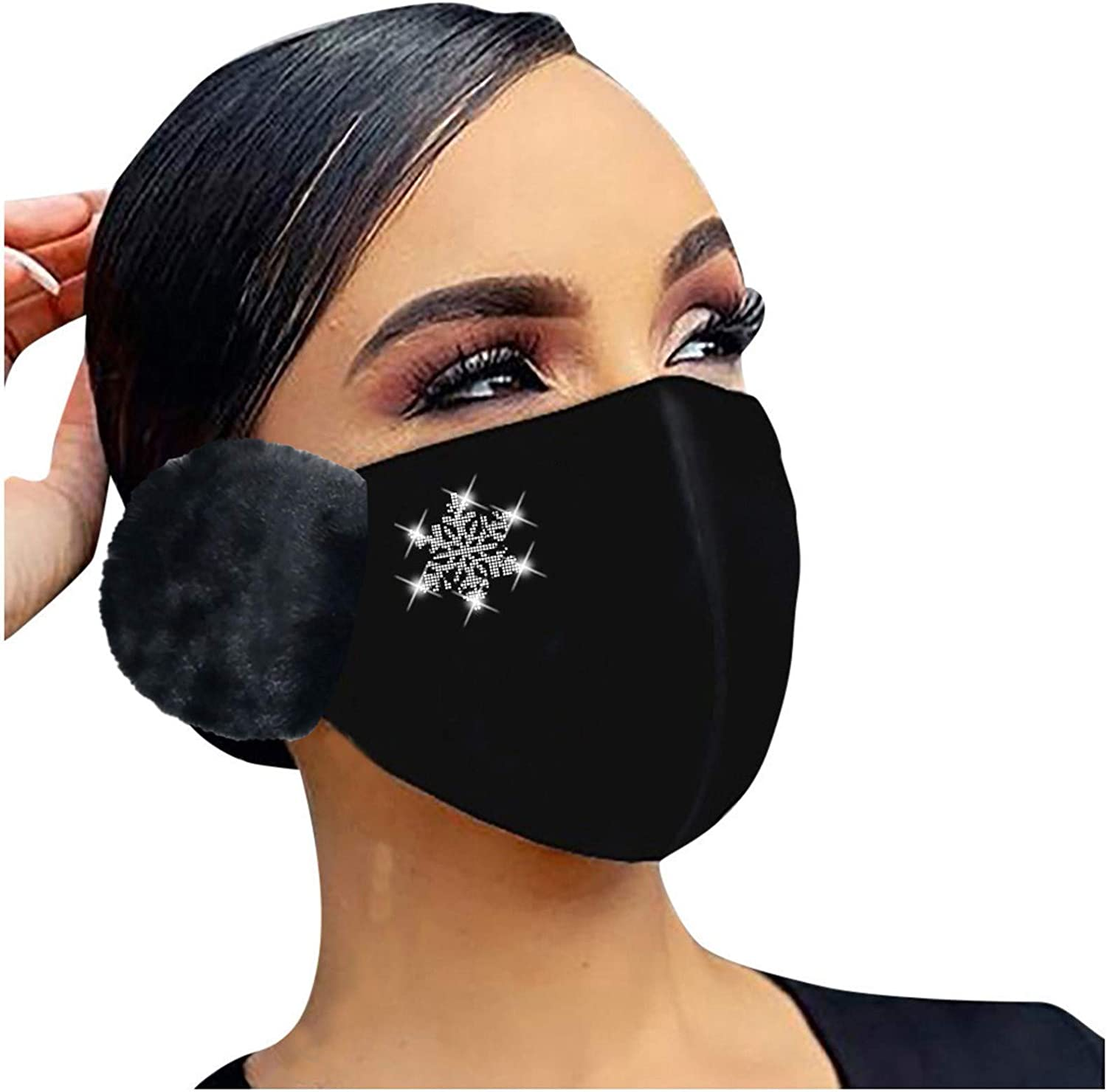 Nopeak Adult 2-in-1 Face Bandanas With Earmuffs,Winter Rhinestone Warm Mouth Caps,Washable Windproof Ear Muffs