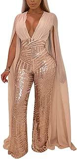 Women's Sexy See Through Mesh Sequin Glitter V Neck Split Floor Length Sleeve Backless Wide Leg Pants Jumpsuit
