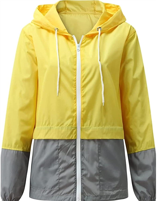 XiuLi Women Waterproof Jackets Casual Long Sleeve Rain Jacket Lightweight Waterproof Coat Quick Dry Outdoor Hooded Raincoat (Color : Yellow, Size : Large)