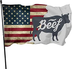 JpnvxiE Outdoor Flags Worn-Out USA Flag Cow Bull Beef Vintage 3X5 Ft Flag for Outdoor Indoor Home Decor Sports Fan Football Basketball Baseball Hockey
