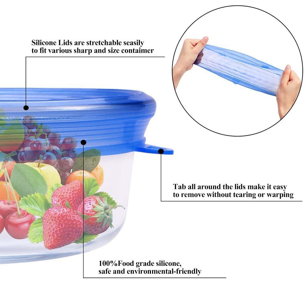 Blue 6 PCS Magic Silicone Stretch Tapas Cuencos ollas y Frutas Cubierta de Almacenamiento de Alimentos sin BPA para Platos frascos Platos Tapas Reutilizables Tapa Envoltura de Alimentos