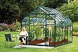 Vitavia Gewächshaus Diana - Ausführung: 9900 ESG 3 mm Grün, Fläche:ca. 9,9 m², Fenster:4, Maße:263 x 383 cm, Sockel:255 x 379 cm,