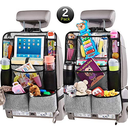 "Helteko Backseat Car Organizer - Kick Mats Back Seat Protector with 10"" Tablet Holder - Car Back Seat Organizer for Kids - Car Travel Accessories - 300D Fabric Kick Mat with 8 Storage Pockets (2 Pack)"