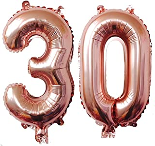 KEYYOOMY 40 inch Number 30 Mylar Balloons (40 inch, Rose Gold Color)