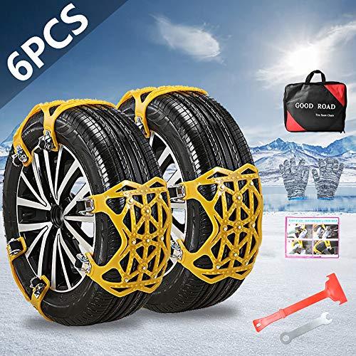 "OTUAYAUTO Car Snow Tire Chains, 165mm-285mm Emergency Anti Slip Adjustable Traction Upgraded TPU Tire Chain, for SUV ATV Truck Winter Universal Tire 6.5"" - 11.2"", 6Pcs"