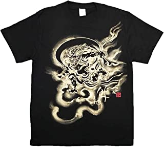 風神 Tシャツ 白黒 半袖 和柄 仏画 日本画 手描き 墨絵 伯舟庵