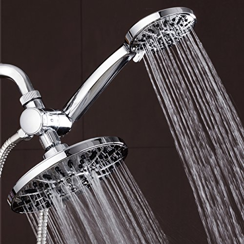 AquaDance 7 Premium High Pressure 3-Way Rainfall Combo for The Best of Both Worlds-Enjoy Luxurious Rain Showerhead and 6-Setting Hand Held Shower Separately or Together - Chrome Finish - 3328