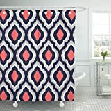 Accrocn Classic Modern Vintage Chic Gray Coral and Navy Moroccan Quatrefoil 60x72 Inches Waterproof Shower Curtain Curtains Fabric Decorative Bathroom Odorless Eco Friendly