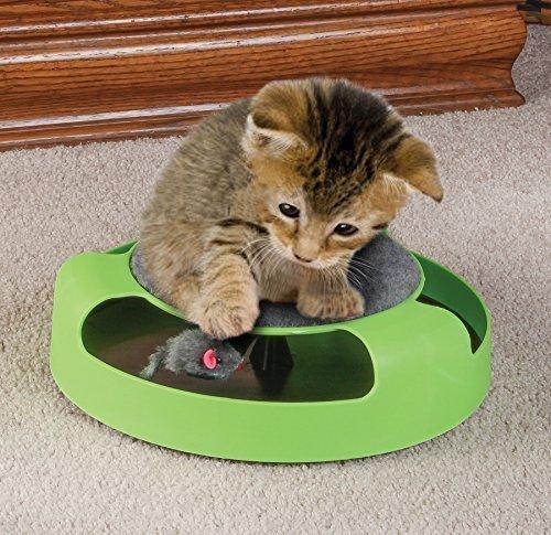 Powerking Katzenspielzeug, interaktives Katzenspielzeug mit laufenden Mäusen und Kratzkissen, lustig, um Ihre Katze fasziniert zu halten