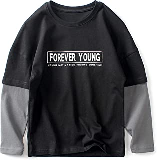 OFIMAN Big Boys Long Sleeve T-Shirt Cotton Youth Tee Tops for Little Kids
