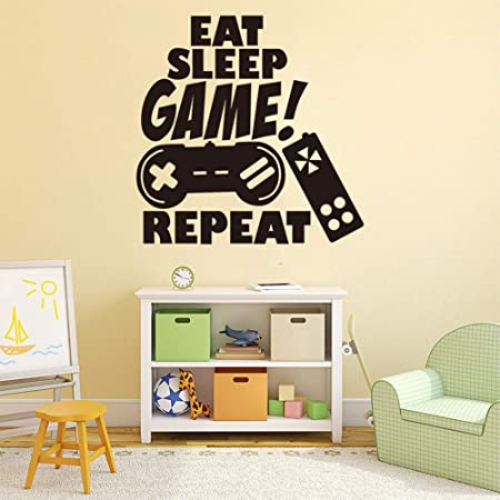Gamer Wall Decals Gaming Letter Quote Wall Sticker Inspirtional Never Sleep Wall Art Mural Wall Poster for Bedroom Boys Playroom Kids Room Living Room Vinyl Wall Art Stickers