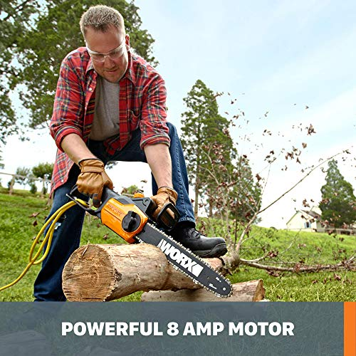 Worx WG305.1, 8 Amp 14-inch Corded Electric Chainsaw with Auto-Tension, Chain Brake