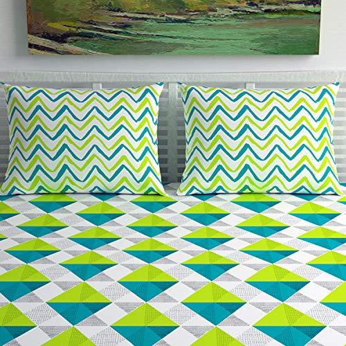 Divine Casa 100% Cotton Geometric Print Mix N Match Bedsheet for Double Bed (Multicolour) 3