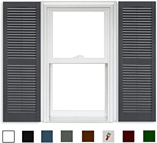 Polaris Open Louver Shutters (1 Pair) - 007 Dark Gray - 15