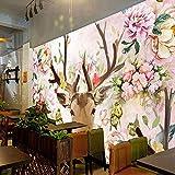 Hhkkck3D壁の壁画ヨーロピアンスタイルの鹿の頭白い牡丹の花の壁紙レストランのリビングルームクリエイティブ背景壁の装飾フレスコ画-120X100Cm